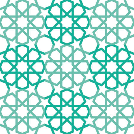 Repeatable seamless Islamic star pattern, isolated on white background.