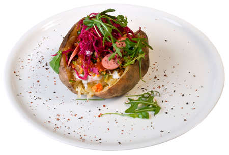 Stuffed Baked Potato on the White Plate Cutout