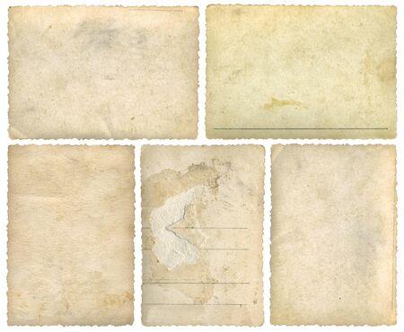 Cinq Vieilles Cartes Postales Vides Modèle Arrière-Plan Découpe