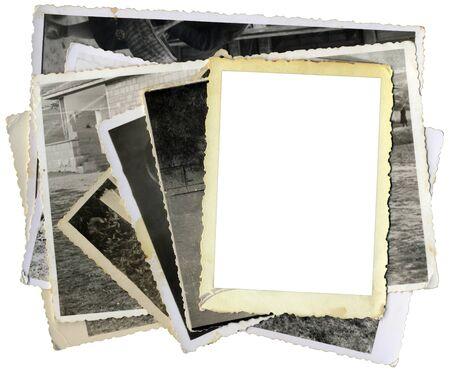 Tas de vieilles photos découpe de modèle