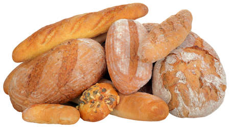 Pile of Different Breads Isolated