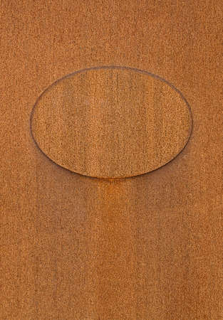 Empty Old Rusty Metal Oval Template