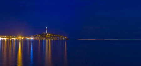 Panoramic View of Croatian Town Rovinj at Night