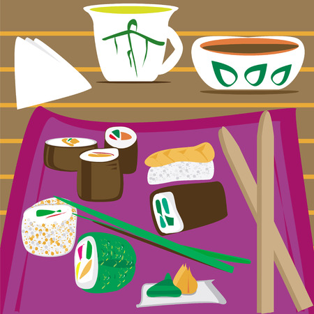 chives: A plate of sushi food with sauce and cup of tea on the table. Illustration
