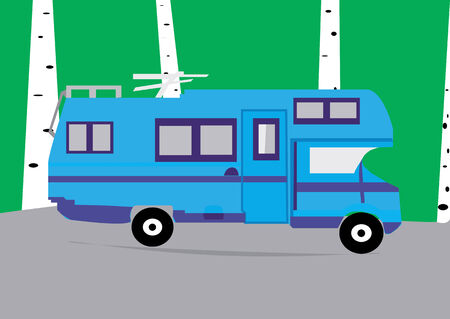 hollidays: A motorhome driving through countryside. Illustration