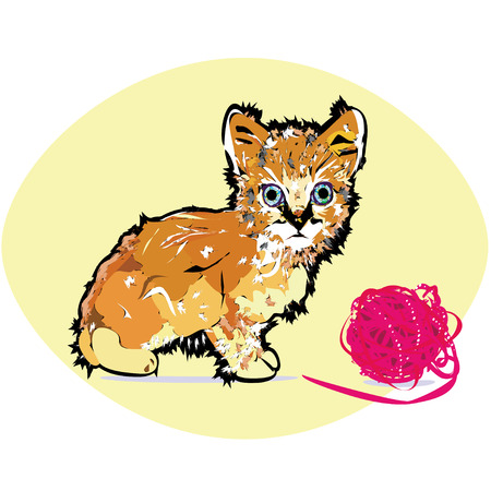 Surprised ginger kitten with huge blueish eyes sitting with a ball of wool and looking at you.
