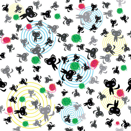 Seamless pattern with cats, kittens, balls of wool and spirals. Vector