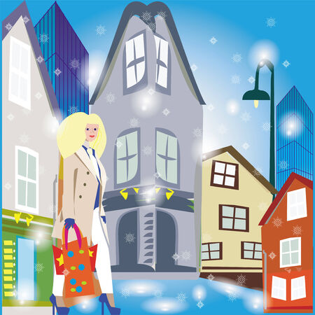 femine: An illustration of a winter street with old and modern buildings on and a lady walking with shopping bags.