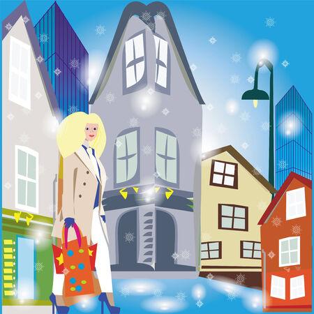 modern buildings: Une illustration d'une rue en hiver avec des b�timents anciens et modernes sur et une dame marchant avec des sacs.