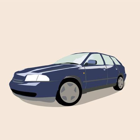 cruising: Un esempio di una macchina blu parcheggiata. Vettoriali