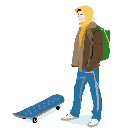 hoody: An illustration of a young guy in a hoody, with a skateboard.