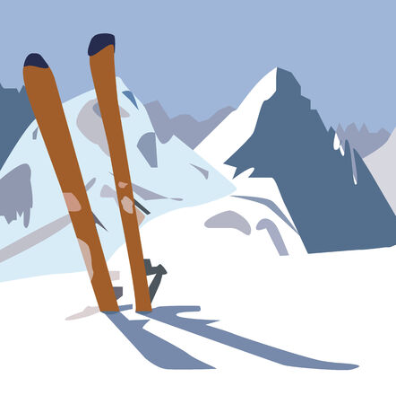 turnout: An illustration of a pair of skis in the snow in the mountains.