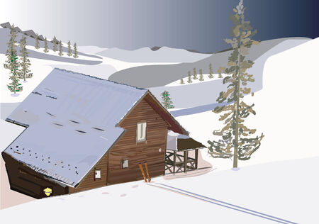 An illustration of a wooden house in winter time, with fir trees around, with skis at the front of the house.