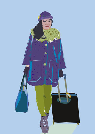 An illustration of a brunette lady with luggage, bag,  walking in warm clothes.