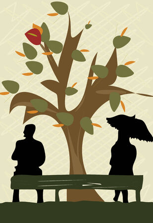 An illustration of a silhouette of a couple sitting on the opposite sides of  bench with a tree losing leaves. Vector