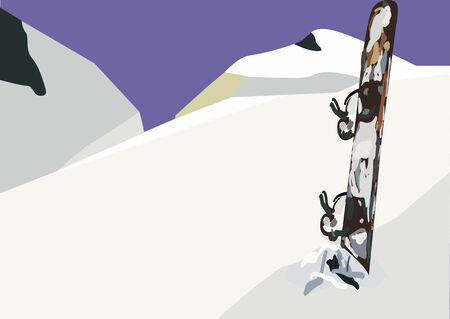 panoramic view: An illustration of a snowboard in the snow in front of mountains peaks. Panoramic view.