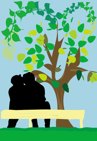 An illustration of a silhouette of a couple kissing and holding each other, while siiting on a bench with a blossoming tree behind. Vector