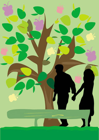 An illustration of a silhouette of a couple walking  in the park, holding  hands, with a tree, leaves and butterflies behind. Illustration