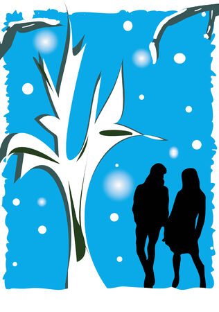 shadowgraph: An illustration of a silhouette of a couple holding hands in a winter scene.