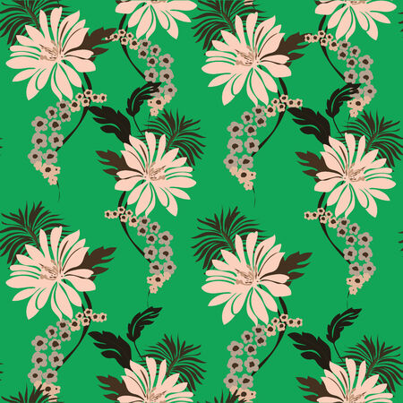 An illustration of lillies, flowers and leaves seamless pattern. Vector