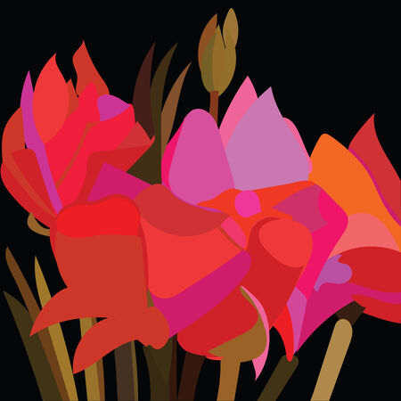 contrasted: An illustration of abstract red flowers contrasted with a black background, pattern.