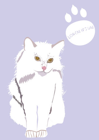 longhaired: An illustration of long-haired white cat, with paw print and text.
