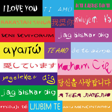an illustration of a pattern of  I love you  phrase on twenty different languages Vector