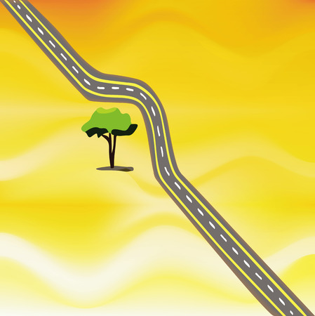 an illustration of a twisty road in the middle of nowhere, that is going around a lonely tree