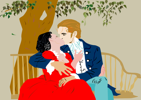 an illustration of old stylish couple from previous centuries sitting on a bench, holding and kissing Vector