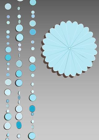 dangle: l'illustrazione di mobili in marmo appeso con un fiore di origami sul lato. Con spazio per il testo.