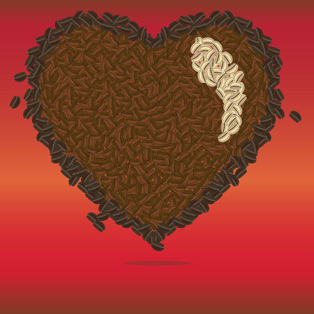 variety: an illustration of a variety of roasted coffee beans and raw coffee beans built in a heart shape, with some coffee beans falling out from the heart Illustration
