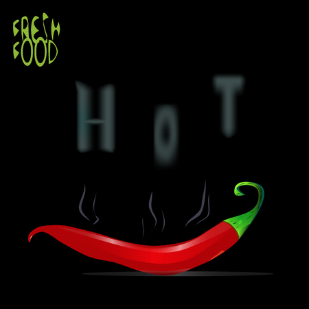 an illustration of a background of fresh chilli pepper, with hot steam and smoke making hot pattern, with a Fresh food sign