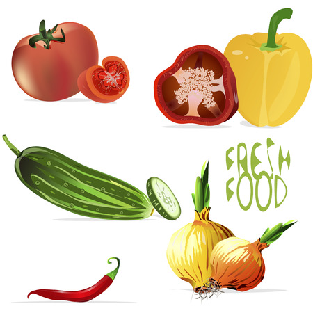 an isolated illustration of a background of a variety of fruits and vegetables, whole and sliced, with seeds and leaves, with a Fresh food sign Vector