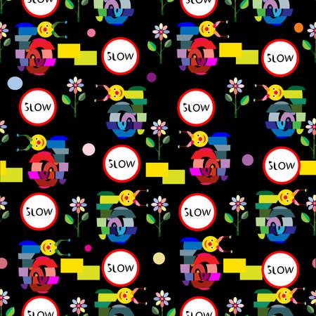 alternating: an illustration of a seamless pattern with alternating box pattern, cartoon, funny snails, mosaic flowers, slow sign and variety of geometrical shapes on a black background Illustration