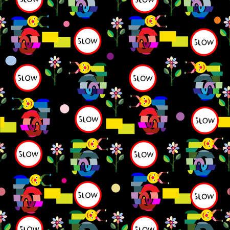 """alternating: una ilustraci�n de un patr�n sin fisuras con el patr�n de la caja alterna, dibujo animado, caracoles divertidos, flores de mosaico, """"lento"""" firmar y variedad de formas geom�tricas sobre un fondo negro"""