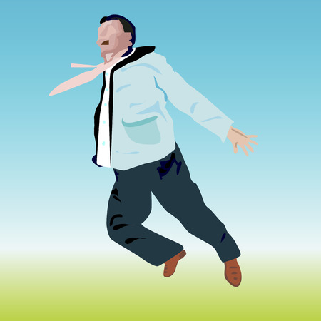 open shirt: an illustration of a man outside in casual clothes , but in office shirt with waving tie, who is jumping  up, leaving his hands apart and keeping his mouth wide open on schematical drawn face