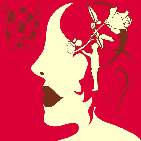 lip stick: an abstract illustration of a sihouette of a girl face wearing cherry colored lip stick, with bunch of buterflyes in top left corner and one used as her hair clip and with rose, man and hair sketch in her head as a dream
