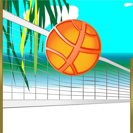 dangle: set di pallavolo, tra cui: palla, rete con pali di legno, con vista sul mare e foglie di palma come sfondo illustrazione