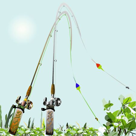 floats: an illustration of a couple of fishing rods with reels, lines, floats, weights, hooks, all ready to go fishing, background with water plants.