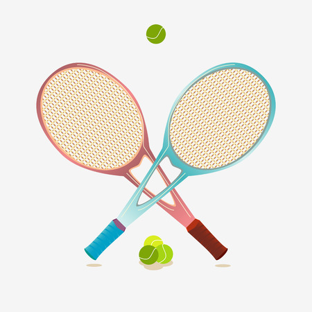 crisscross: an illustration of tennis equipment, including two tennis rackets in different colors criss-cross with a number of tennis balls Illustration