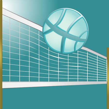 volleybal bal en een golvend volleybal net met houten palen, achtergrond afbeelding