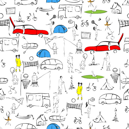 silhouettes of camping equipment, including different tents, boats, vehicles, campfires, bicycles, people in action and activities on transparent background, seamless pattern Vector