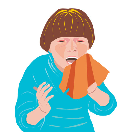 sneezing: illustration of a sick, sneezing young person. Red cheeks and eyes because of temperature.