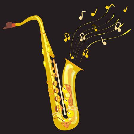 twirled: illustrazione di un sassofono in dettagli con pentagramma girava e note diverse in aria Vettoriali