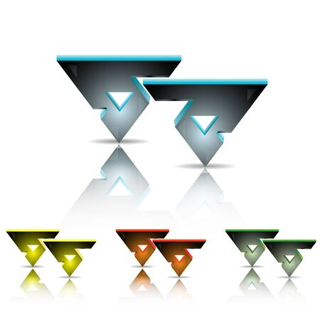 gaps:  illustration of a couple of 3-D triangles with triangle gaps inside it, with shades and reflections. In four different colors