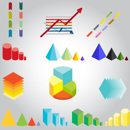 all in: illustration of a variety of arrows, graphs, diagrams all in different colors