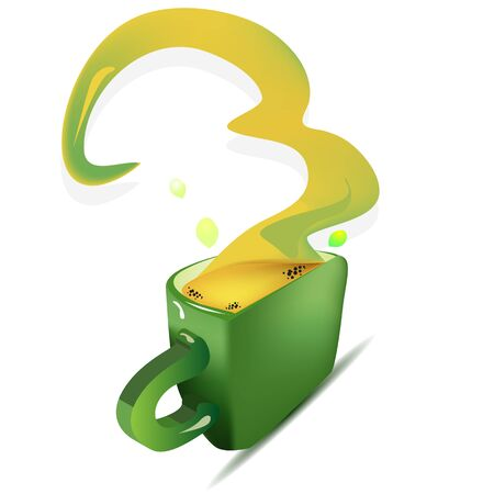 steam of a leaf: a vector illustration of a leaf shaped tea cup with tea and steam in funny shape, with tea drops around, sun reflection on a three dimensional cup