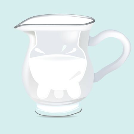 udder: a vector illustration of a glass jug with reflections with udder full of milk and milk drops around Illustration