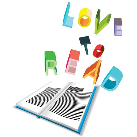 dimentional: a vector illustration of an open three dimensional open book, with shade under and three dimentional writing on rainbow colors saying love to read
