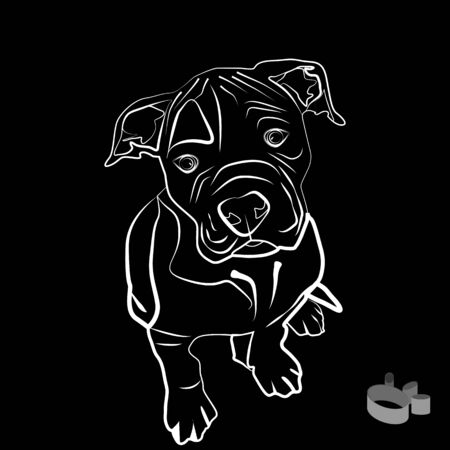 bulldog puppy: a vector illustration of an american bulldog puppy silhouette, with a paw print next to it